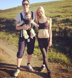 Happy mom: The 35-year-old star, pictured with her little one and her husband Kyle Newman on April 7, admitted she feels 'blessed'