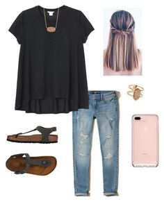 """""""friends talent show ."""" by mallory-d ❤ liked on Polyvore featuring Hollister Co., Monki, Kendra Scott and Birkenstock"""