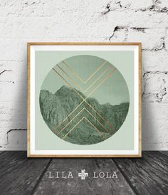 Geometric Print, Sage Green Decor, Mint Green, Faux Rose Gold Foil, Mountain Photo, Moody Photography, Scandinavian Wall Art, Copper Print