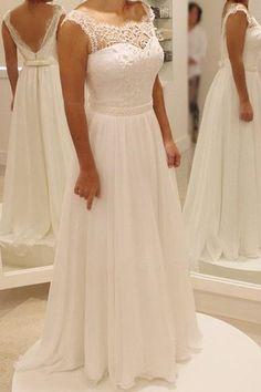 Cap Sleeve Lace Beach Wedding Dresses, 2017 Chiffon Long Custom Wedding Gowns, Affordable Bridal Dresses, 17096