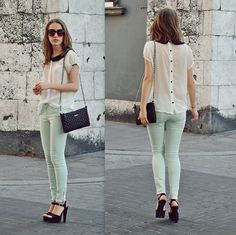 the peter pan collar, the sheer top, buttons down her back, mint pants... so much to love