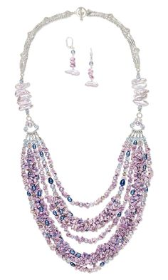 Multi-Strand Necklace and Earring Set with Cebu Beauty Lily Shell Beads, Cultured Freshwater Pearls and Czech Fire-Polished Glass Beads