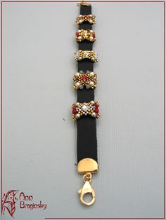 Beaded Slider Bead - Red and brown leather bracelet. Anna Braginskaya - Beaded Jewelry