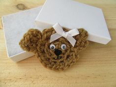 Cute crochet bear brooch made from salvaged left-over wool. This little bear is made from light brown wool, she has a white ribbon bow, black facial features and cute googly eyes. Crochet Bear, Cute Crochet, White Ribbon, Ribbon Bows, Paper Cover, Gift For Lover, Statement Jewelry, Gift Guide, Unique Gifts