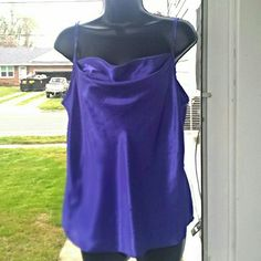 "Beautiful Silk Camisole This was worn just once. I've lost weight and it no longer fits. It features spaghetti straps & a mock cowl bodice. It measures 25"" long & 19"" across. It's loose fitting. Goes great with a jacket or alone.  #0393  5/6 Sauci Tops Camisoles"