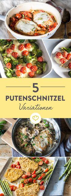 Von Low Carb bis deftig: Putenschnitzel kannst du vielseitig zubereiten. Ob paniert, gebraten oder überbacken - hier findest du 5 köstliche Rezeptideen.