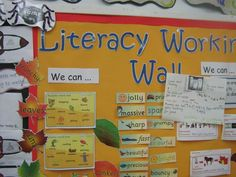 A literacy working wall - could do a food working wall Year 1 Classroom, Classroom Board, Classroom Displays, Bulletin Boards, Classroom Ideas, Literacy Working Wall, Wall Writing, English Resources, New Class