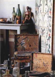 Paint boxes in Cezanne's atelier, Avignon, Provence, France