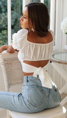Sexy Off Shoulder Ruffles Bandage Backless Summer Blouse S-XL Crop Top Shirts, Crop Tops, Tank Tops, White Off Shoulder Top, Off Shoulder Top Outfit, Mode Kpop, International Clothing, White Mini Skirts, Diy Couture