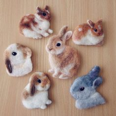 Cute Needle felting wool animal bunnies pets(Via @machilu_felt)