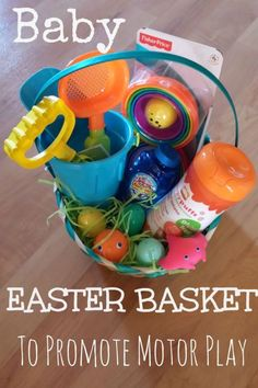 Best for: Ages 12 - 18 months Is your little one too young for candy? Put together an Easter basket that will help them develop their motor skills, with items like stacking cups, bath toys, plastic eggs. Get the tutorial at Pink Oatmeal.