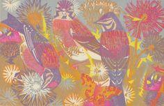 """Thistles and Linnets"" by Matt Underwood (woodblock print)"