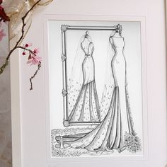 Wedding Dress Illustrations, Fashion Illustration Dresses, Custom Wedding Dress, Wedding Dresses, 1st Anniversary Gifts, Custom Mirrors, Special Birthday, Custom Wrapping Paper, Sketch Design
