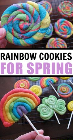 These St. Patrick's Day cookies are uber colorful, super duper easy, and oh so fun to make! Rainbows, gold coins, shamrocks, and rainbow swirls! #amandascookin St Patrick's Day Cookies, Yummy Cookies, Peanut Butter Cookies, Chocolate Chip Cookies, No Bake Desserts, Delicious Desserts, Rainbow Swirl, Shortbread Cookies, Gold Coins