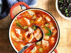 Carolina Fish, Shrimp, and Okra Stew with Black Rice Rice Recipes, Seafood Recipes, Whole Food Recipes, Soup Recipes, Cooking Recipes, Lasagna Recipes, Chowder Recipes, Cooking Black Rice, Okra Stew