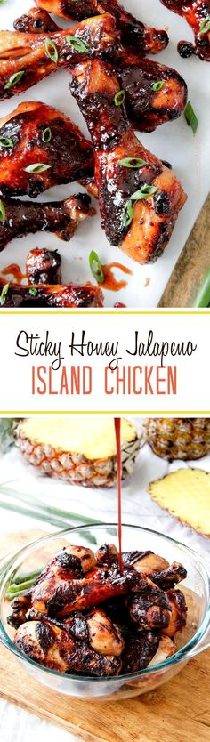 15 minute prep Baked Sticky Honey Jalapeno Island Chicken - Tender marinated (skin on or off) sweet heat chicken smothered in sticky honey jalapeno pineapple sauce that would be absolutely delicious! I Love Food, Good Food, Yummy Food, Turkey Recipes, Chicken Recipes, Great Recipes, Favorite Recipes, Drumstick Recipes, Carlsbad Cravings