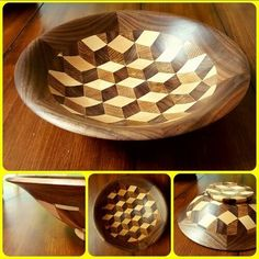 Segmented turned bowl made of walnut, maple and red oak. By Joel J Garcia Lathe Projects, Wood Turning Projects, Wooden Projects, Wood Crafts, Woodworking Plans, Woodworking Projects, Got Wood, Wood Creations, Wood Lathe