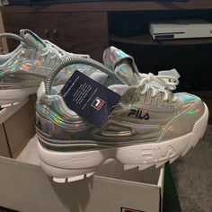 Fila Disruptor II Holographic Source by rikkisilbert shoes Sock Shoes, Cute Shoes, Me Too Shoes, Shoe Boots, Baby Shoes, Moda Sneakers, Shoes Sneakers, Sneakers Fashion, Fashion Shoes