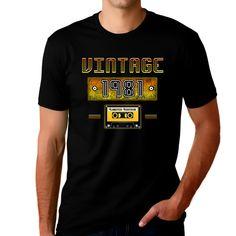 40th Birthday Gifts for Men - 40th Birthday Shirts - 1981 Birthday Gifts for Men Vintage 1981 Graphic Tees for Men - Black / L