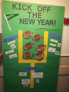 Here is RA Nasha's January bulletin board! What better way to kick off the new year with a little football inspiration and some fun facts on how to start the new year! Enjoy! :D
