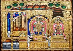 Tanjore Painting using 22 carat original gold foil and embossing, semi precious stone and chettinad teak wood frame. Mysore Painting, Tanjore Painting, Shiva Art, Hindu Art, Indian Gods, Indian Art, Lord Shiva Painting, Nataraja, Pooja Rooms