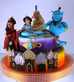Aladdin and the magic lamp cake Fancy Desserts, Fancy Cakes, Amazing Wedding Cakes, Amazing Cakes, Cupcakes, Cupcake Cakes, Jasmine Cake, Aladdin Cake, Princesa Jasmine