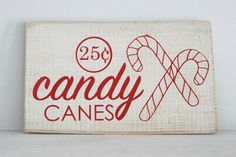 Candy Canes Wood Sign from The Summery Umbrella featured on Kenarry.com