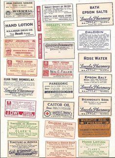 63 vintage Drugstore,Pharmacy ,Poison and Medicine Labels etc Vintage Bottles, Vintage Labels, Vintage Items, Halloween Labels, Halloween Printable, Decoupage, Glass Bottles With Corks, Bottle Labels, Jar Labels