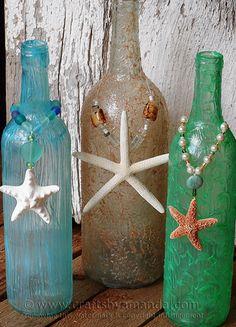 Wine Bottle Craft: Textured Beach Vase - Crafts by Amanda Vase Crafts, Cork Crafts, Diy Crafts, Wine Bottle Art, Wine Bottle Crafts, Vodka Bottle, Beer Bottle, Seashell Crafts, Beach Crafts