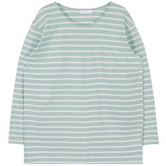 Simple Striped Round Neck Top (95 BRL) ❤ liked on Polyvore featuring tops, t-shirts, clothing - ls tops, green long sleeve tee, long sleeve tops, striped long sleeve t shirt, green top and layering tees