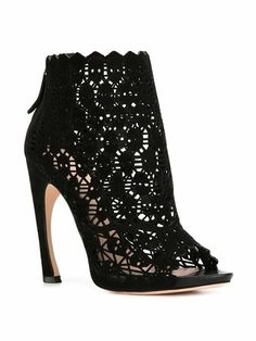 Alexander McQueen Cut-Out Skull Caged Boots High Heel Boots, Heeled Boots, Bootie Boots, Shoe Boots, High Heels, Alexander Mcqueen Zapatos, Crazy Shoes, Me Too Shoes, Goth Shoes