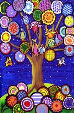 Owl Tree by Renie Britenbucher Tree Of Life Art, Tree Art, Pop Art, Art Fantaisiste, Paper Flower Art, Owl Tree, Mexican Folk Art, Art Floral, Whimsical Art