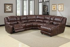 7 pc Zanthe collection brown polished microfiber fabric upholstered motion sectional sofa with chaise and recliner