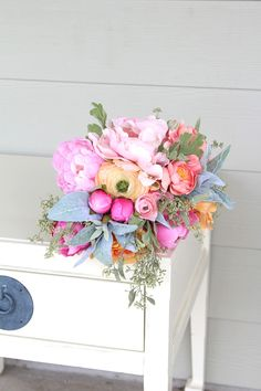Pink, coral and peach silk flower wedding bouquet by Southern Girl Weddings See more here: http://etsy.com/shop/southerngirlweddings