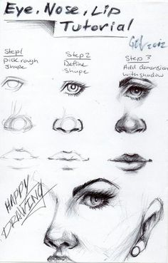 How to draw - Eyes, Nose and Mouth                                                                                                                                                                                 More