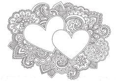 Illustration of Hearts Henna Mehndi Valentines Day Doodles Floral Paisley Design Vector Illustration vector art, clipart and stock vectors. Paisley Doodle, Henna Doodle, Love Doodles, Henna Mehndi, Mehndi Tattoo, Mehendi, Doodle Drawings, Doodle Art, Henna Kunst