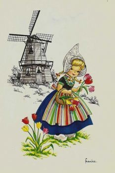 Vintage 5 Postcards DUTCH Children artist Frankie by Kruger set of five Holland. Dutch Tattoo, Photo Souvenir, Artists For Kids, Thinking Day, Wow Art, Le Moulin, Delft, Vintage Cards, Vintage Postcards