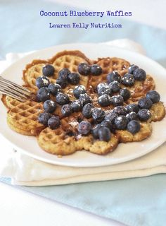 Coconut Blueberry Waffles - Lauren Kelly Nutrition #glutenfree
