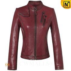 CWMALLS® Women's Wine Leather Moto Jacket CW607010