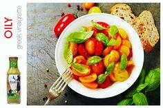 Organic heirloom tomatoes with a splash of OILY Greek vinaigrette is the flavor of joy.  #glutenfree #vegan