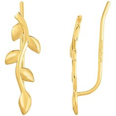 14k yellow gold olive tree branch climber earrings ($229) ❤ liked on Polyvore featuring jewelry, earrings, 14k earrings, peace sign earrings, gold jewelry, peace sign stud earrings and 14k gold earrings