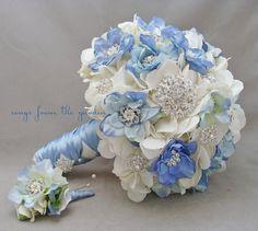 Broches blancos azules & floraciones ramo Boutonniere plata Rhinestone ramo flor strass azul blanco broche Bouquet de bodas