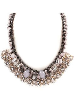 Crystal Garland Necklace - Pewter | Daily Chic