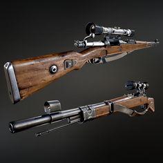 WW2 Kar 98 Mauser sniper rifle with bayonet, Israel Pargas on ArtStation at https://www.artstation.com/artwork/ww2-kar-98-mauser-sniper-rifle-with-bayonet