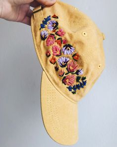 Embroidery Designs Patterns Embroidered hats by Lexi Mire - Go team! Learn Embroidery, Hand Embroidery Patterns, Floral Embroidery, Cross Stitch Embroidery, Hat Embroidery, Simple Embroidery, Bone Bordado, Embroidered Caps, Embroidery Techniques