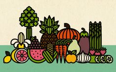 Fruit and veggies by Burlesque Design