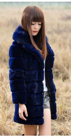 New Real 100% Rex Rabbit Fur Raccoon Collar  Women Coat Jacket Overcoat Garment  #Furfox #BasicCoat