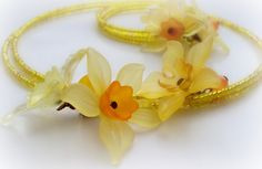 Spring Flowers Bouquet Memory Wire Choker Necklace. by earringsAND, $32.50