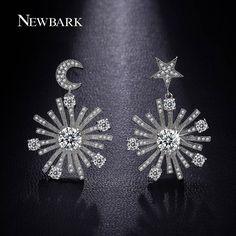 Find More Drop Earrings Information about NEWBARK Fairy Star Moon Earrings 18k…