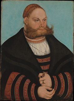 Lucas Cranach the Elder (German, 1472–1553). Lukas Spielhausen, 1532. The Metropolitan Museum of Art, New York. Bequest of Gula V. Hirschland, 1980 (1981.57.1) | The lively pattern of colors and interplay of curves in the costume and the contrast between the man's tightly bundled hair and his expansively projecting mustache and beard give this portrait a striking visual impact. #mustache #movember